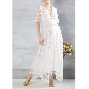 ModCloth Women's White Lace Midi Wedding Gown Sz S